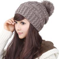 韩版潮毛线帽子女秋冬天保暖可爱咖啡色球球护耳针织帽