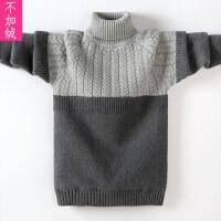 儿童高领撞色毛衣冬季中大童双翻领针织衫绒厚款保暖打底衫男孩