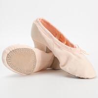 帆布教师鞋儿童带跟舞蹈鞋软底练功鞋民族舞瑜伽鞋肚皮舞鞋