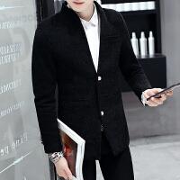 风衣男短款秋冬季韩版呢子大衣青年学生帅气夹克修身男士外套西服