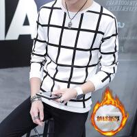 冬季加厚长袖T恤男韩版上衣服加绒保暖秋衣卫衣男装修身打底衫
