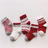 小火焰 2017秋季新款全棉宝宝袜子1-3岁男女儿童袜中筒纯棉0-1岁婴儿袜子 5双