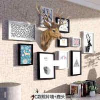 卧室挂件7寸照片墙相框组合清新客厅相片相框墙上沙发挂墙照片美式装饰尺寸墙面个性一 C款照片墙 加加大版鹿头仿真色