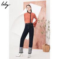 Lily春新款女装时髦纽扣后镂空修身打底衫针织衫118130A8726