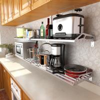 304不锈钢厨房置物架壁挂式墙上微波炉烤箱单层收纳储物架省空间