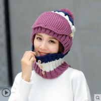 骑车帽子围脖一体防寒女时尚保暖针织帽护耳护脖加绒毛线套帽