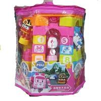 变形汽车珀利积木系列拼插拼搭儿童玩具 58块,颜色随机