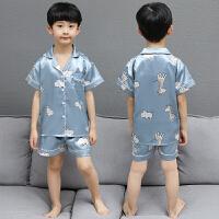 儿童睡衣夏季薄款中大童男童短袖空调家居服套装