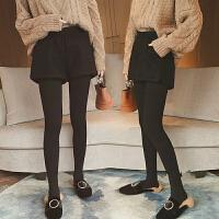 韩版高腰短裤子女秋冬新款外穿松紧腰显瘦百搭打底阔腿裤毛呢靴裤