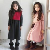 韩国童装女童连衣裙2017秋冬新款韩版中大儿童加绒加厚公主长裙
