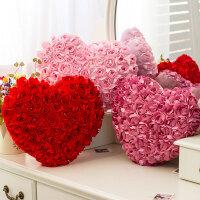 红色爱心抱枕心形靠垫可爱桃心毛绒玩具情侣婚庆结婚礼物