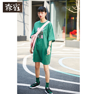 【低至1折起】森宿长款复古绿港味裙子夏装2018新款趣味印花宽松连衣裙女