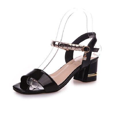 ELEISE美国艾蕾莎新品160-2277韩版超纤皮中跟女士凉鞋