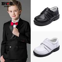 斯纳菲童鞋男童皮鞋黑色真皮学生演出鞋中大童儿童单鞋小童表演鞋