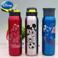 迪士尼卡通保温杯 儿童吸管运动不锈钢水壶 学生便携直饮水杯