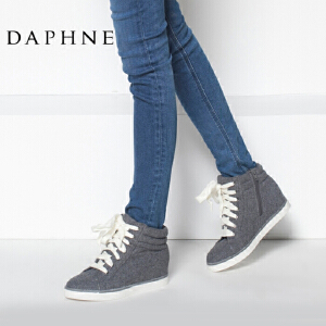 Daphne/达芙妮女鞋秋冬季内增高短靴时尚休闲系带高帮靴平底女靴子布鞋