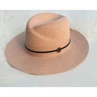 2018新款樱花粉色草帽子防晒礼帽M标女款出游沙滩小清新大檐帽潮 可调节