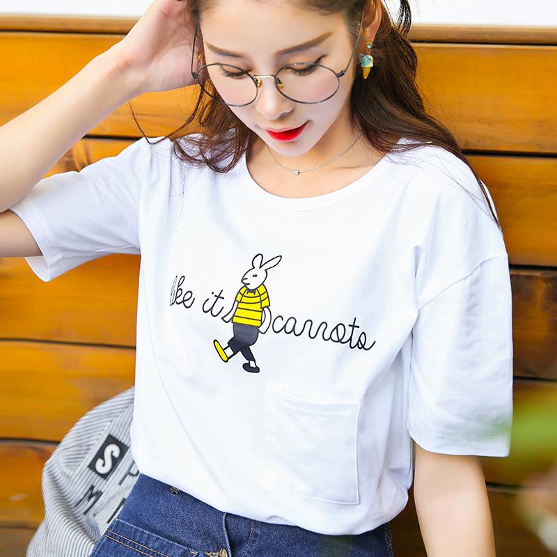 新品韩版宽松百搭夏装短袖T恤棉大码圆领女装上衣小衫