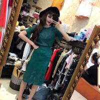 套装女夏2018韩版时尚新款淑女显瘦圆领针织上衣+修身高腰鱼尾裙 均码