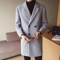 秋冬季毛呢大衣男中长款韩版修身风衣妮子羊毛尼外套潮流青年加厚