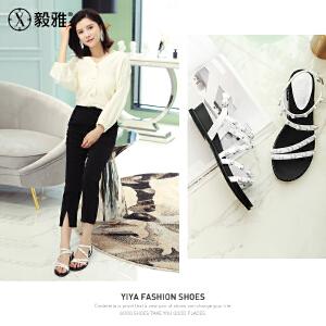 【毅雅】2018新款凉鞋女士中跟坡跟绑带珍珠装饰罗马鞋细带组合 YL8WB3028