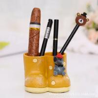 物有物语 笔筒 创意礼品 卡通鞋子笔筒定制精致摆件学生文具树脂工艺品