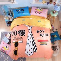 伊丝洁家纺新款纯棉卡通床上用品四件套1.5/1.8m床全棉床单被套双人床品 1.5-1.8米床(被套200*230cm
