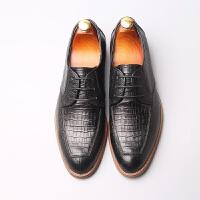 欧美复古男鞋潮流鳄鱼纹休闲皮鞋男系带真皮时尚婚鞋