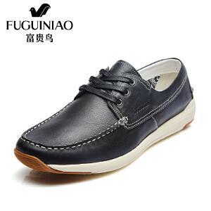 富贵鸟 年春季新品 时尚牛皮革圆头系带生活鞋休闲鞋男鞋子
