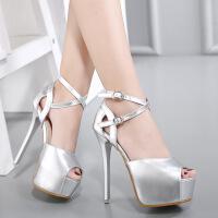 细跟凉鞋女夜店14cm超高跟鞋夏新款韩版防水台性感绑带鱼嘴鞋