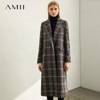 【到手价:408元】Amii极简时尚韩版英伦毛呢外套2019冬季新款撞色拼接羊毛格子大衣
