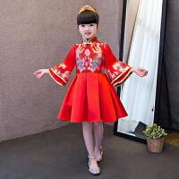 儿童演出服民族风复古女童裙女童中式公主裙新款儿童旗袍裙中国风