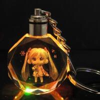 日本动漫周边模型 Q版LED七彩水晶灯钥匙扣挂件 买就送备用电池一套