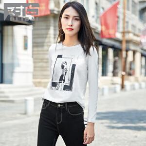 对白简约人物印花长袖T恤女秋新款休闲基础圆领打底衫
