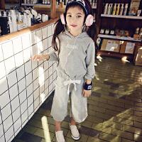 韩版女童卫衣套装春秋字母休闲外套九分阔腿裤潮酷儿童运动两件套