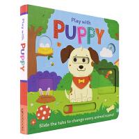 Play with Puppy 和小狗狗一起玩 儿童推拉机关书 英语绘本简单儿歌 锻炼手脑协调能力 英文原版进口儿童图