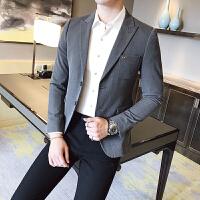 秋冬季休闲西装外套男青年英伦黑色小西装潮男韩版修身西服男上衣 灰色 2XL