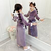 儿童浴袍珊瑚绒睡袍法兰绒秋冬季睡衣