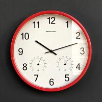 简约现代带湿度计扫秒静音圆形客厅卧室办公石英钟表挂钟 12英寸