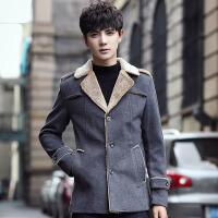 香港潮牌秋冬装棉衣商务休闲中长款毛呢外套男士加绒加厚棉袄青年