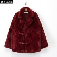 新款中长款人造皮草外套秋冬保暖棉衣气质百搭仿獭兔毛毛绒大衣女