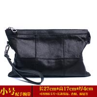新款男士手包大容量g软皮小羊皮手拿包男包休闲信封包潮 黑色(小号)