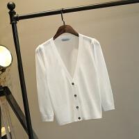 冰丝夏季韩版女装针织开衫罩衫短款长袖款披肩外搭空调防晒衣