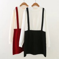 大码女装秋装新款胖MM撞色针织连衣裙女韩版学院风假两件毛衣