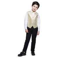 新款韩版童装礼服马甲潮 儿童礼服男童小西装花童婚宴西服 黄 色