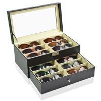 刘涛眼镜收纳盒8格皮太阳镜展示盒木质大墨镜盒多格