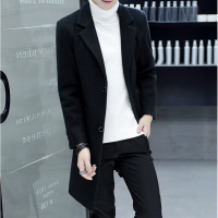秋冬季风衣男中长款帅气修身呢子大衣韩版青少年学生外套潮