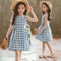 女童格子连衣裙2018新款夏季韩版儿童棉麻无袖背心裙洋气公主裙子