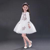 儿童公主裙长袖表演蓬蓬裙中大童礼服婚纱裙白女童秋冬加绒连衣裙