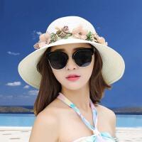 帽子女夏天韩版百搭遮阳可折叠草帽太阳帽海边出游沙滩渔夫帽
